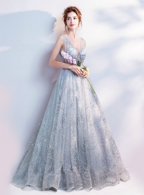 In Stock:Ship in 48 hours Fashion Silver V-neck Bling Bling  Prom Dress