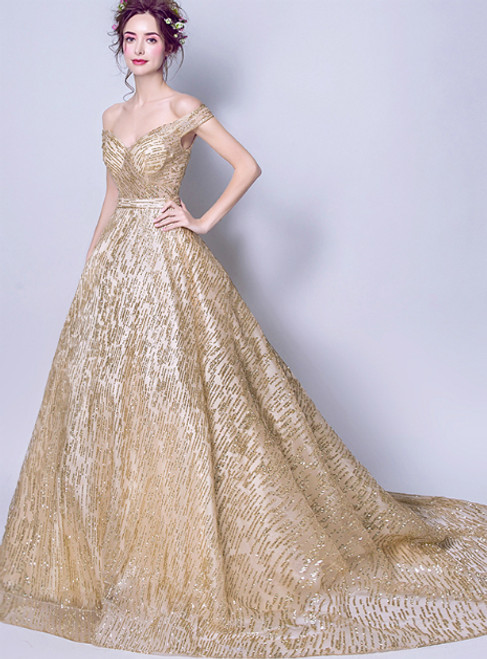 In Stock:Ship in 48 hours Gold Tulle Bling Bling Off The Shoulder Prom Dress