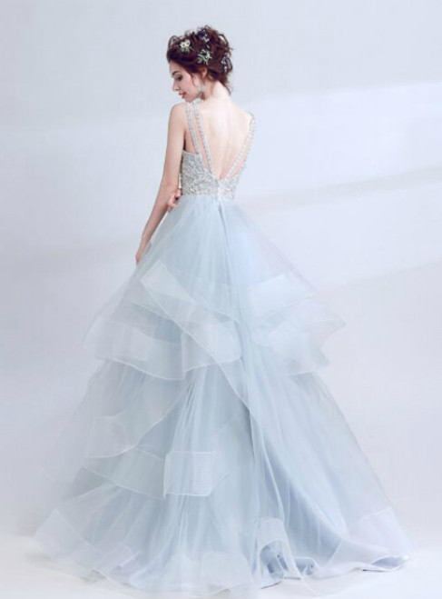 In Stock:Ship in 48 hours Ball Gown Gray Tulle Beading Backless Prom Dress