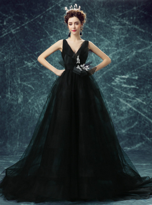 In Stock:Ship in 48 hours Black Ball Gown Tulle V-neck High Waist Prom Dress