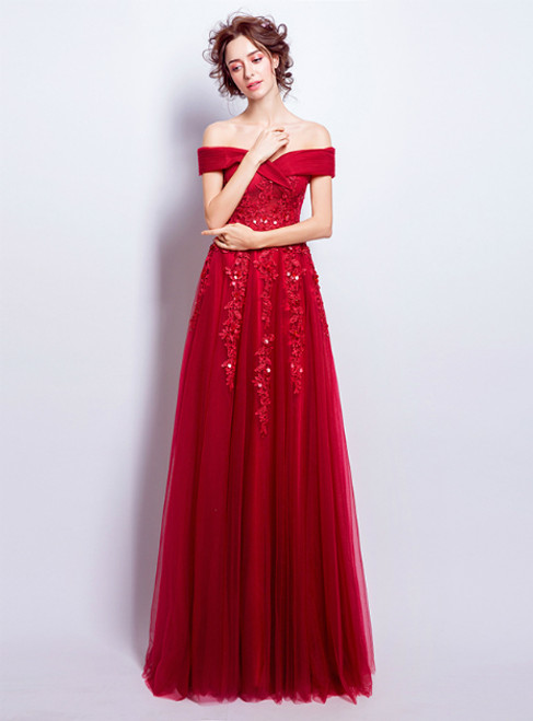 In Stock:Ship in 48 hours Red Off The Shoulder Tulle Appliques Prom Dress