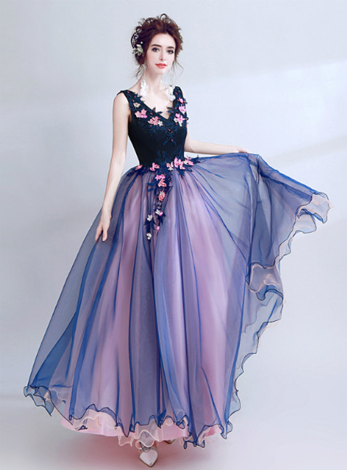 In Stock:Ship in 48 hours A-Line V-neck Tulle Blue Backless Prom Dress
