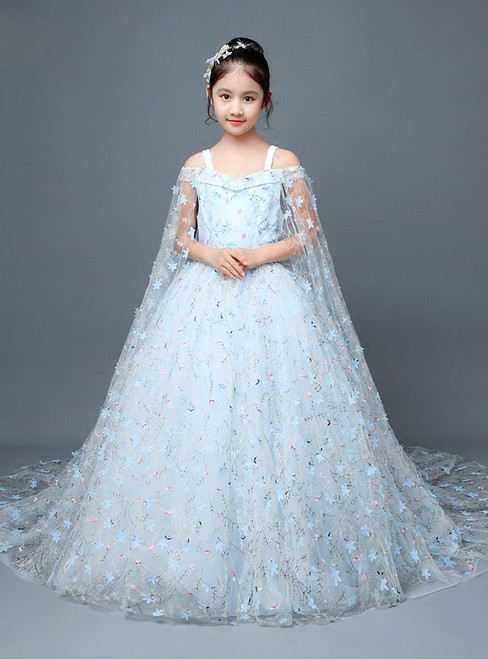 Blue Ball Gown Tulle Appliques Flower Girl Dress