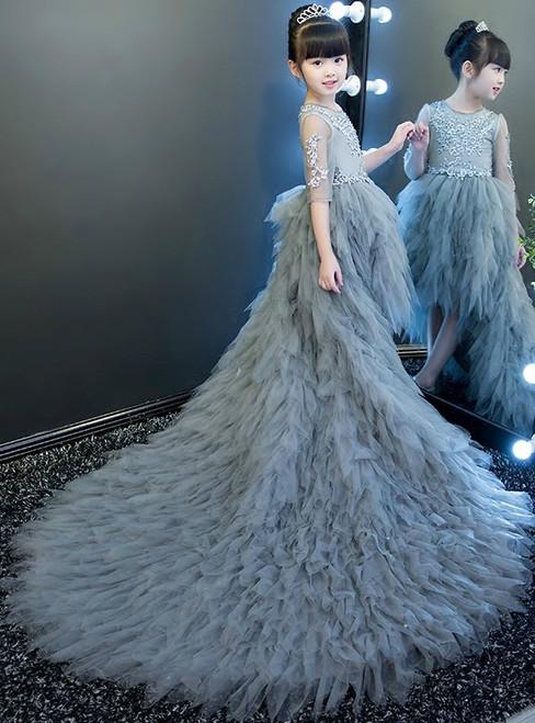 Hi Lo Short Sleeve Gray Tulle Appliques Flower Girl Dress