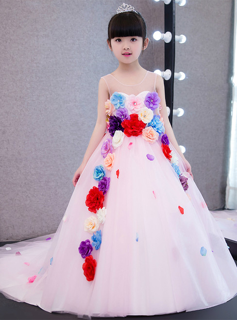 Fashion Pink Tulle Trailing Flower Girl Dress Princess Dress