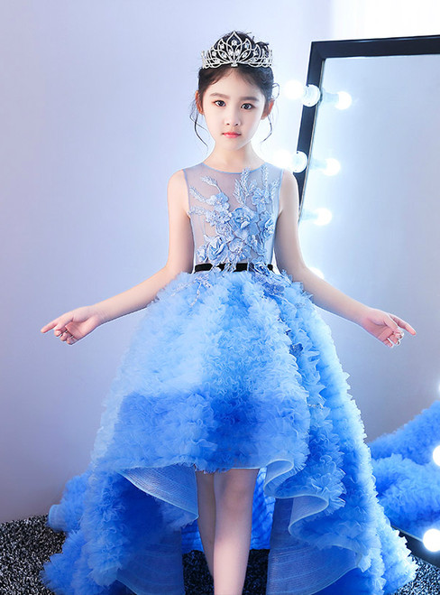 Blue Hi Lo Tulle Ruffles Appliques Flower Girl Dress