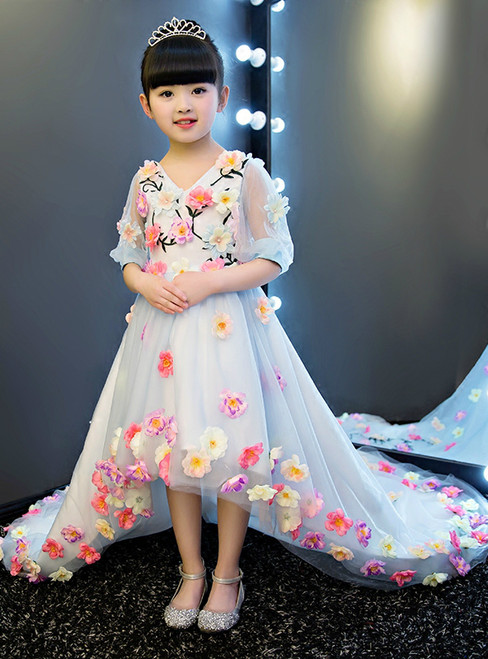 Hi Lo Short Sleeve Blue Tulle Flower Girl Dress