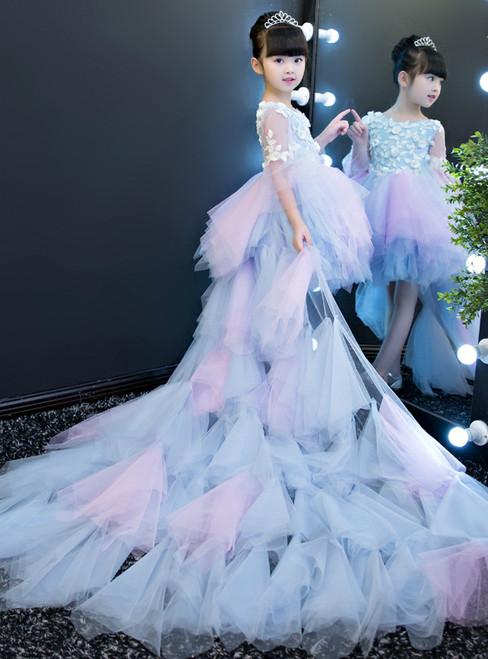 Blue Tulle Hi Lo Long Sleeve Flower Girl Dress