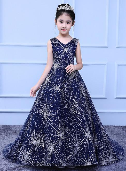 Big Girl Blue Tulle Bling Bling Sequins Flower Girl Dress