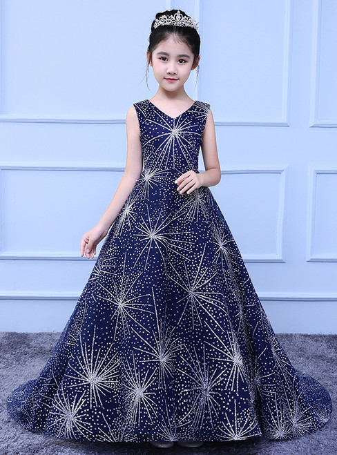 Big Girl Blue Tulle Bling Bling Sequins Flower Girl Dress