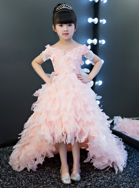 In Stock:Ship in 48 hours Hi Lo Pink Tulle Flower Girl Dress