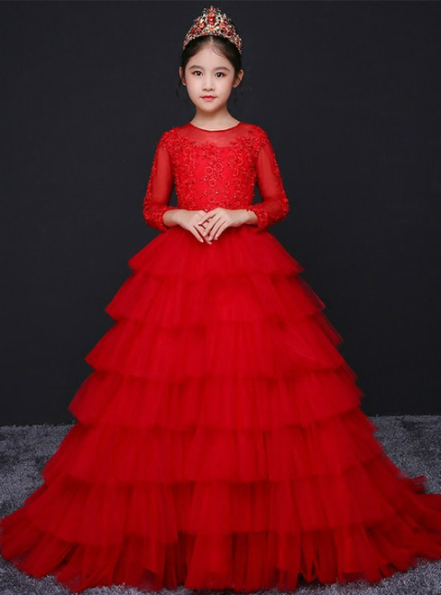 In Stock:Ship in 48 hours Long Sleeve Tulle Flower Girl Dress