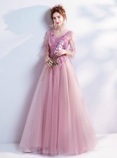 In Stock:Ship in 48 hours A-line Pink Tulle V-neck Backless Appliques Prom Dress