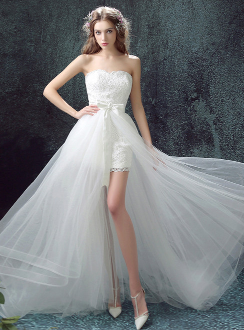 In Stock:Ship in 48 hours Hi Lo Tulle Lace Wedding Dress