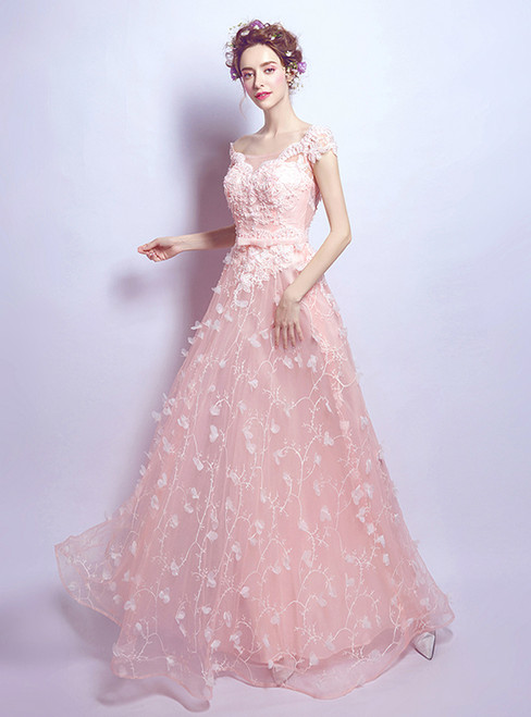 In Stock:Ship in 48 hours Pink Appliques Tulle Wedding Dress