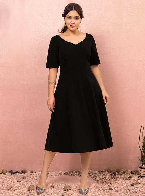 Plus Size Tea Length Black Short Sleeve Satin Prom Dress