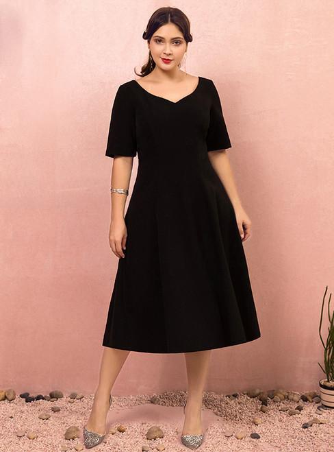 Plus Size Tea Length Black Short Sleeve Satin Prom Dress