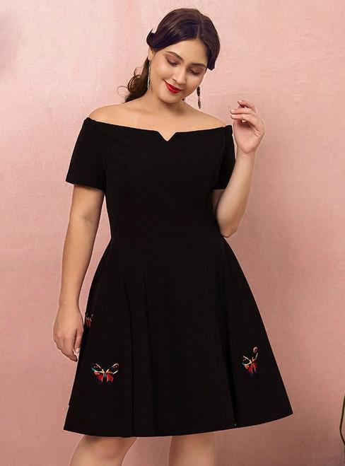 Plus Size Knee Length Black Satin Off The Shoulder Short Prom Dress