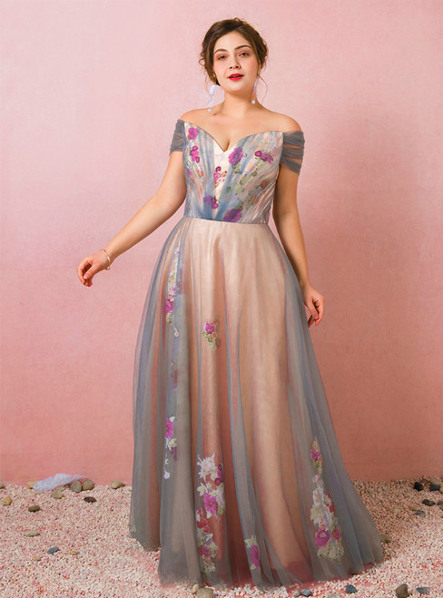 Plus Size Off The Shoulder Tulle Print Long Prom Dress