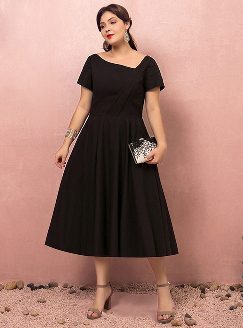 Plus Size Black Satin Tea Length Asymmetrical Neck Prom Dress