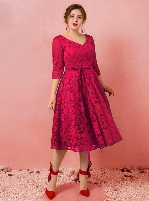 Plus Size Burgundy Lace Half Sleeve V-neck Prom Dress