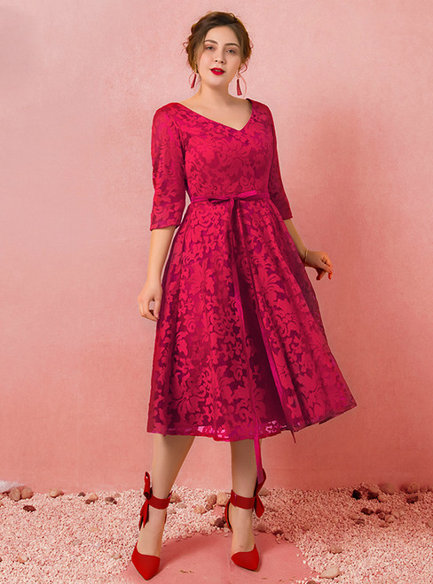 Plus Size Burgundy Lace Half Sleeve V-neck Prom Dress