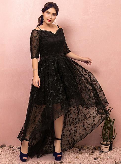 Plus Size Black Lace Hi lo Spaghetti Straps Prom Dress