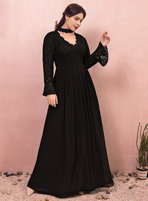 Plus Size Black Long Sleeve Lace V-neck Prom Dress