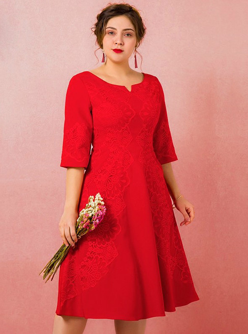 Plus Size Red Half Sleeve Lace Tea Length Prom Dress