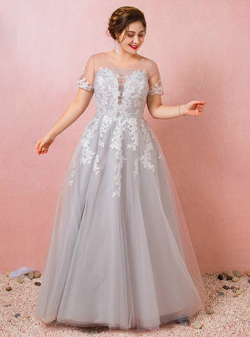 Plus Size Gray Tulle Appliques Short Sleeve Prom Dress