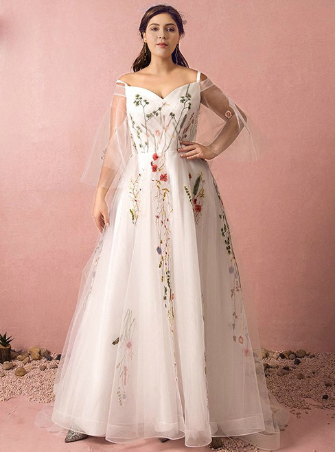 Plus Size White Tulle Straps Embroidery Prom Dress