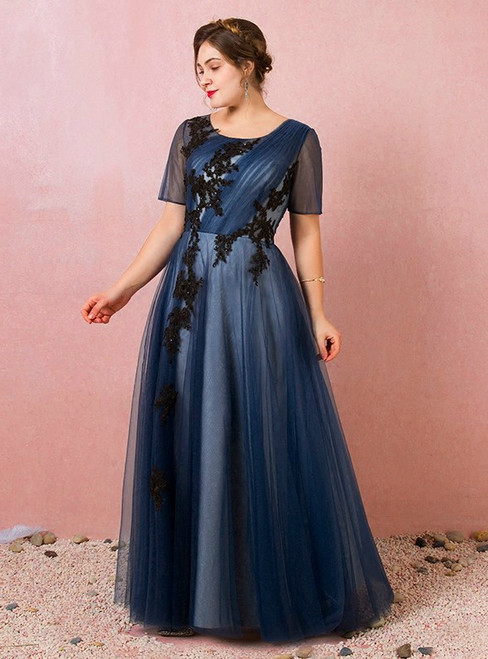 Plus Size Blue Tulle Short Sleeve Appliques Prom Dress