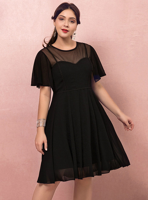 Plus Size Black Chiffon Short Sleeve Short Dress