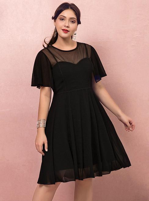 Plus Size Black Chiffon Short Sleeve Short Dress