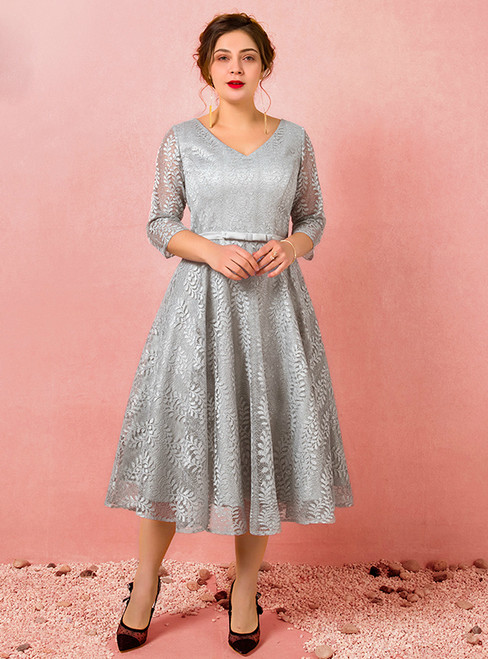 Plus Size Gray Lace Short Sleeve Tea Length Prom Dress
