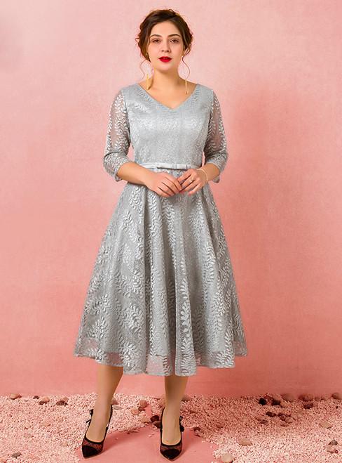 Plus Size Gray Lace Short Sleeve Tea Length Prom Dress