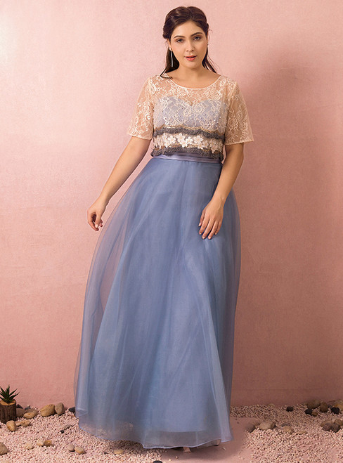 Plus Size Blue Tulle Lace Appliques Prom Dress