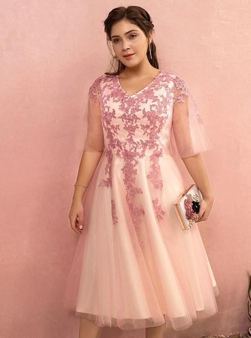Plus Size A-line Pink Tulle V-Neck Short Prom Dress