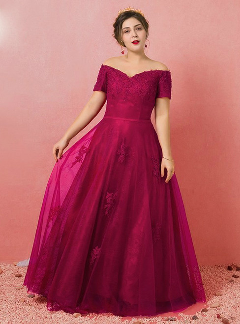 Plus Size Burgundy Tulle Appliques Off The Shoulder Prom Dress