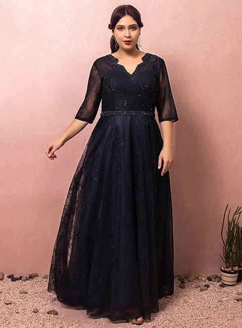 Plus Size Blue Tulle Half Sleeve Backless Prom Dress