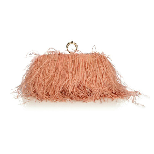 Ostrich Fur Feather Clutch Famous Brand Women Clutch