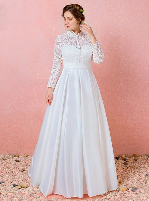 Plus Size Long Sleeve Lace Satin High Neck Wedding Dress