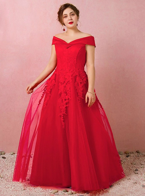 Plus Size Red Tulle Off The Shoulder Prom Dress