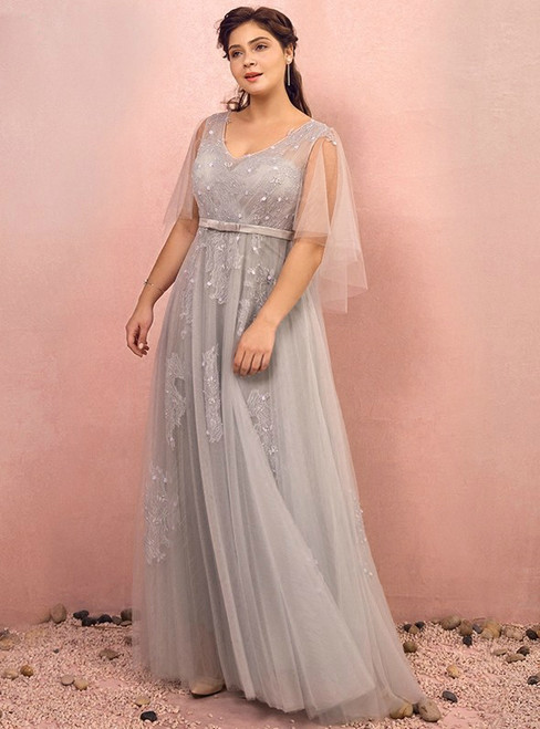 Plus Size Gray Tulle Waist V-Neck Prom Dress