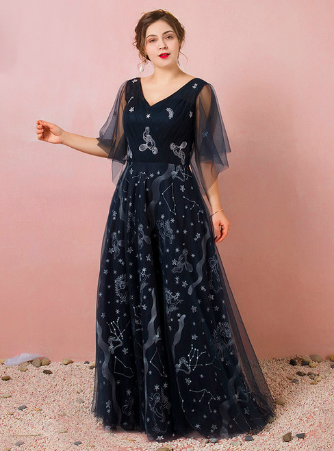 Plus Size Blue Tulle Deep V-neck Print Prom Dress