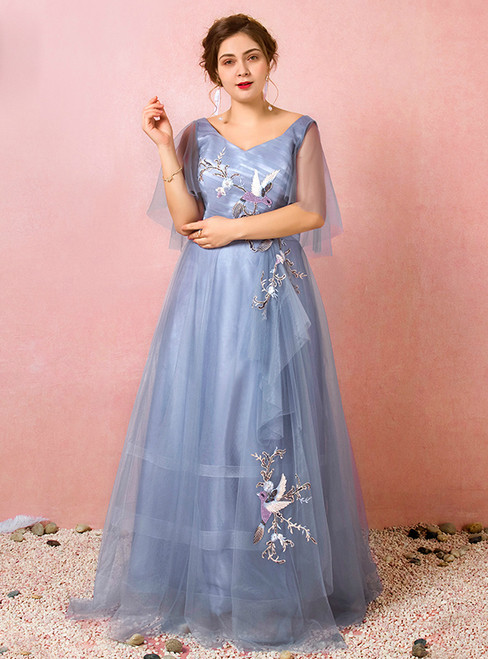 Plus Size Blue Tulle Appliques V-neck Prom Dress