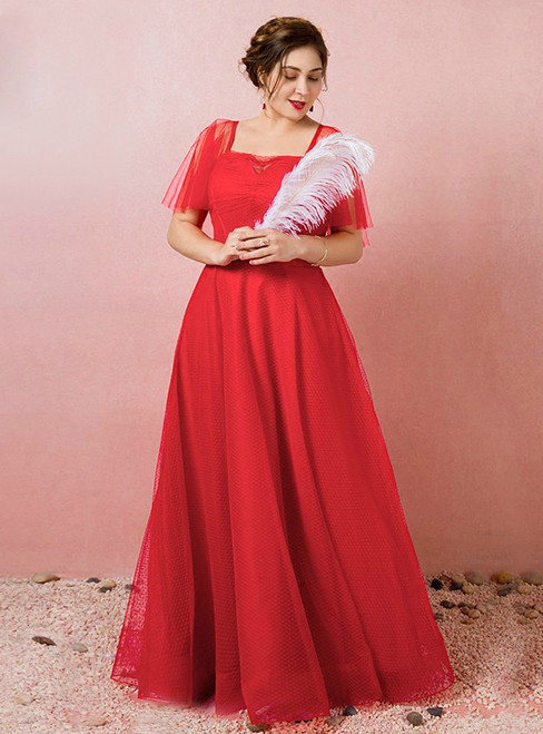 Plus Size Red Tulle Backless Prom Dress