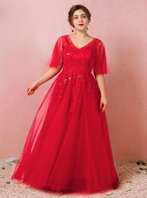 Plus Size Red Deep V-Neck Tulle Floor Length Prom Dress