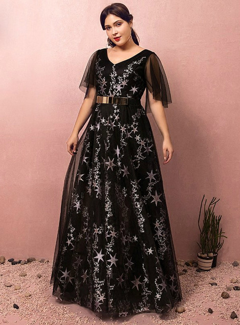 Plus Size Black Tulle Print Star V-neck Prom Dress