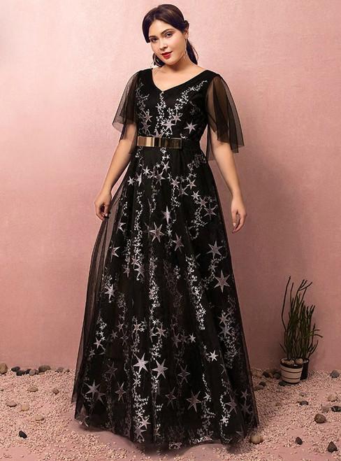 1bb41d9bdbf Plus Size Black Tulle Print Star V-neck Prom Dress